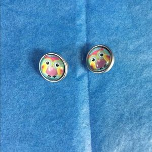 Cute multi colored owl snap buttons